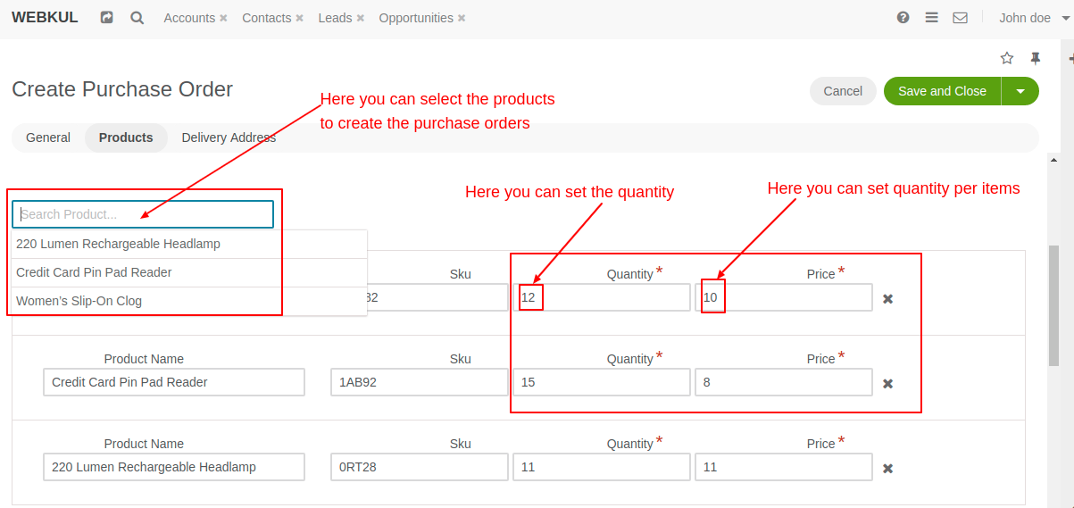 Select the products to create the purchase orders