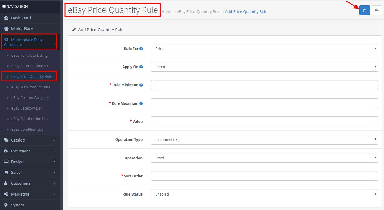 add ebay price quantity rule