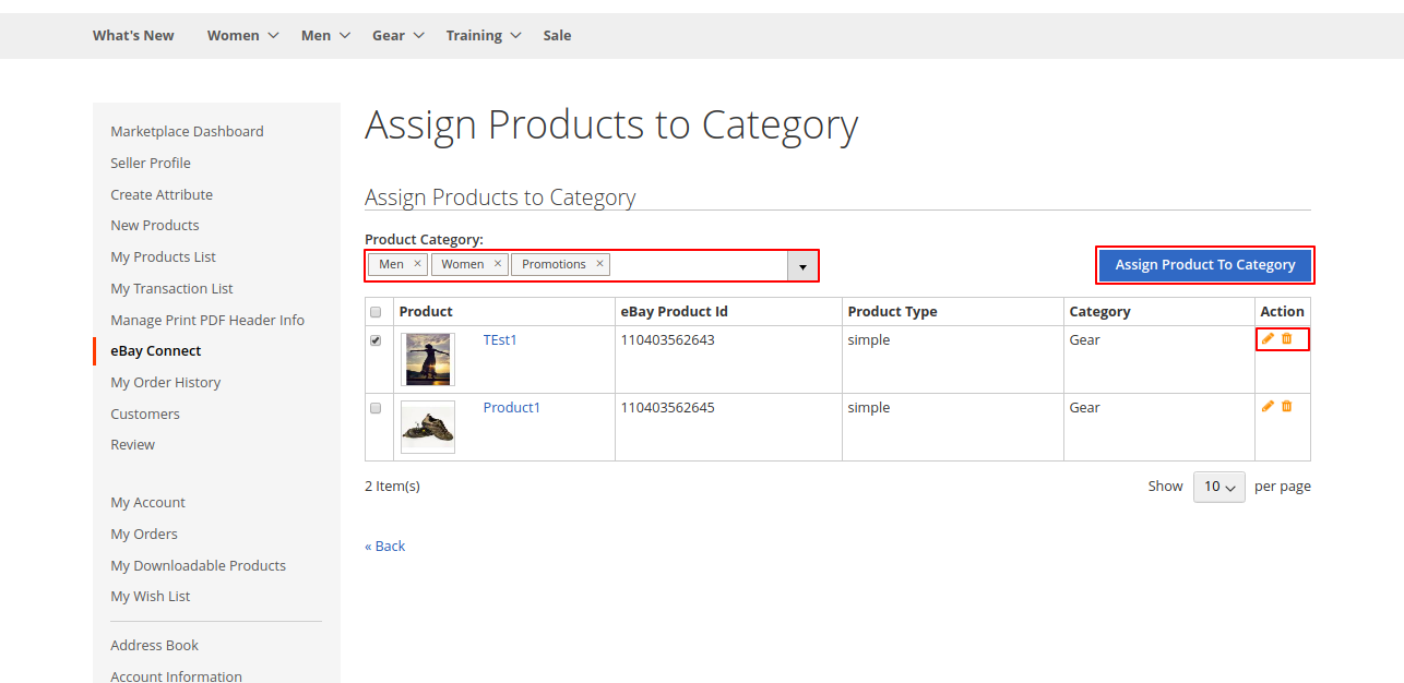 assign category