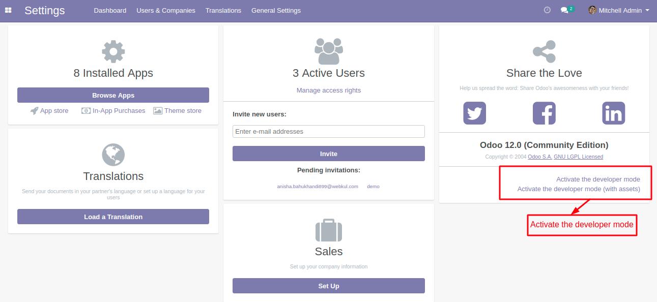 Activate developer Mode In Odoo