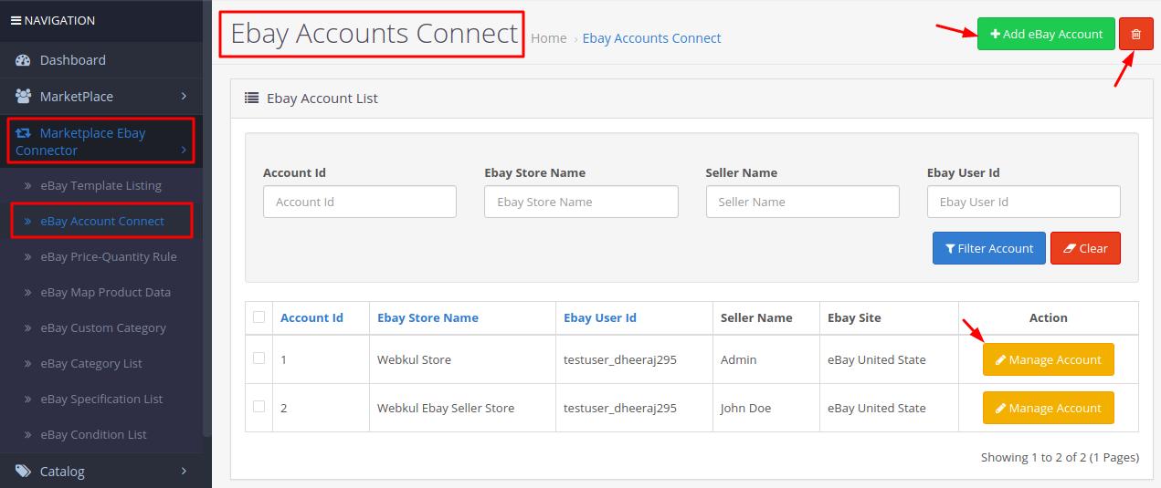 eBay accounts connect