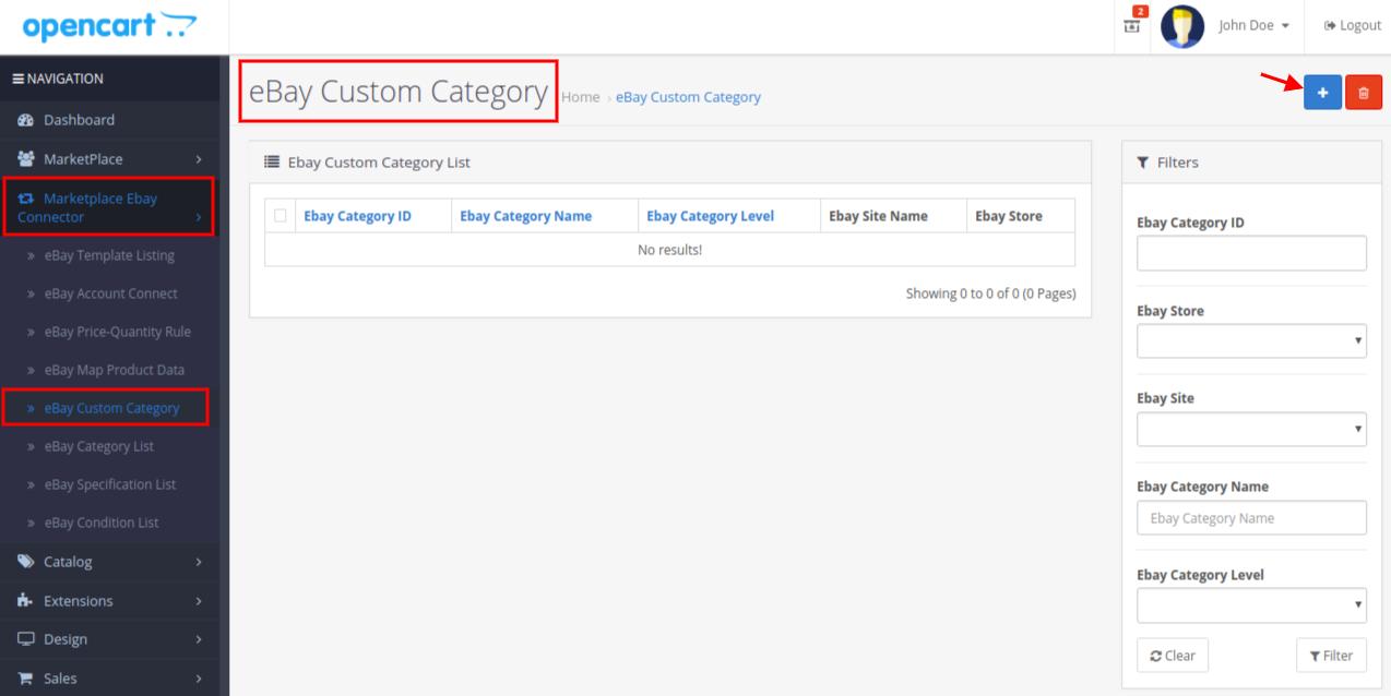 eBay custom category