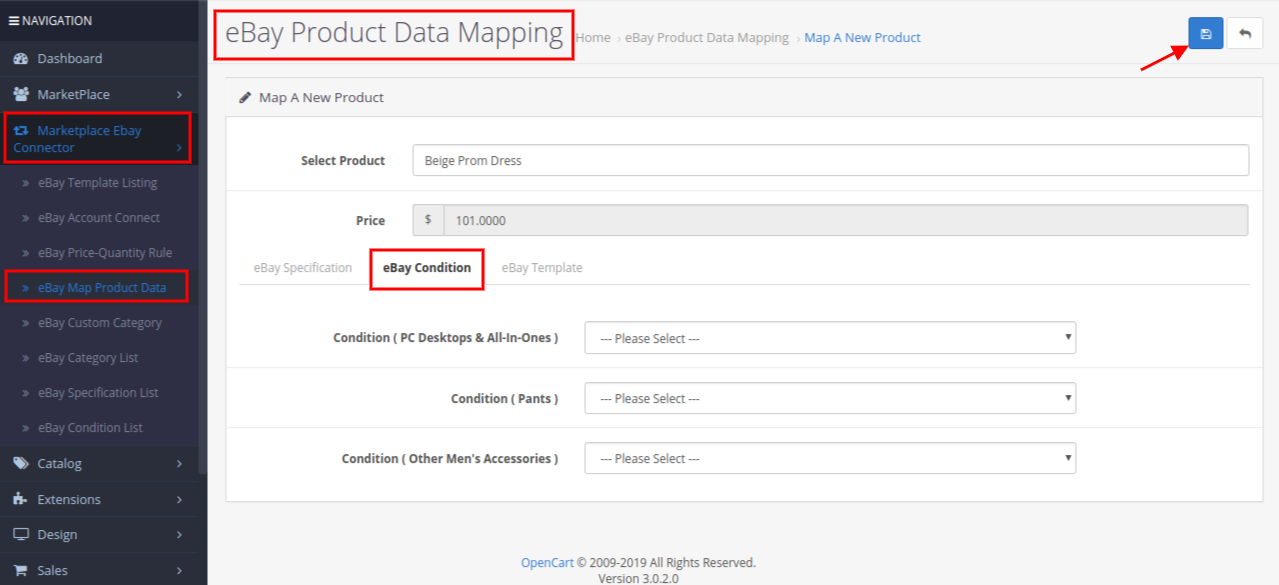 eBay product data mapping
