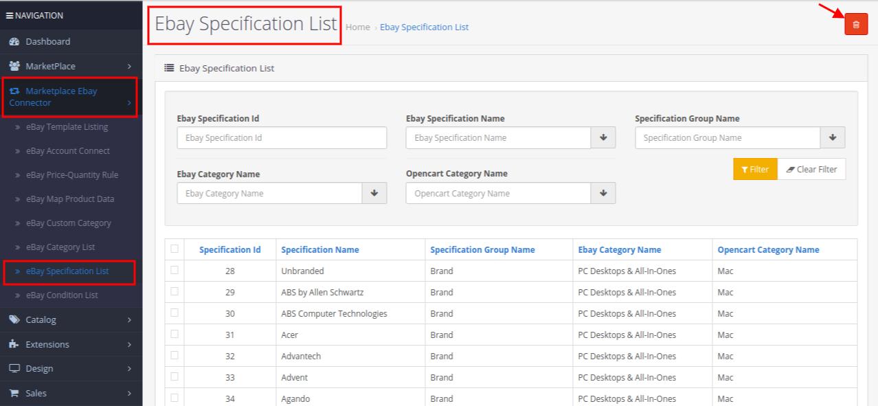 eBay specification list