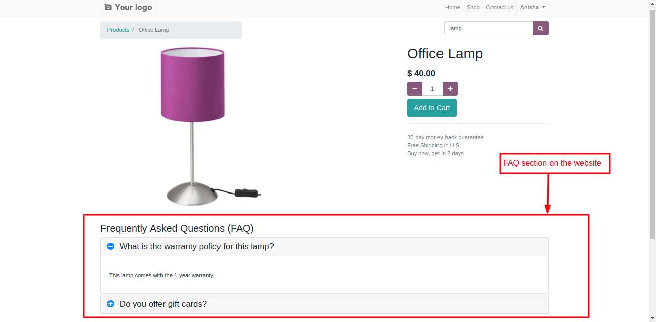 Product FAQ section on odoo website