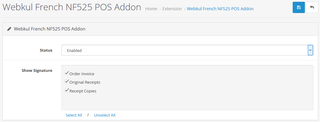 webkul_opencart_french_nf525_pos_add_on_configuration_settings