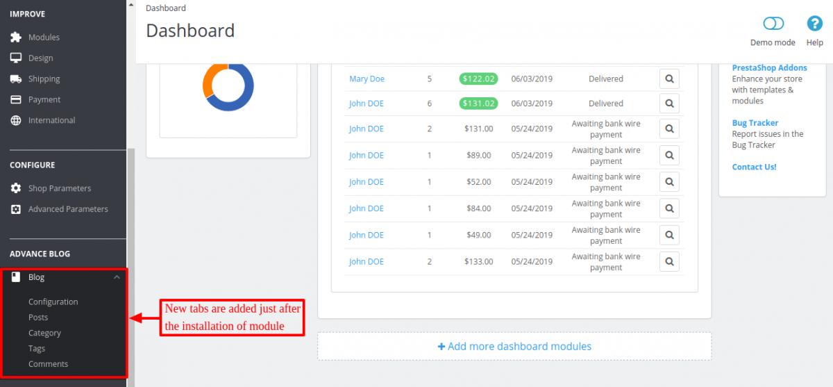 new tabs added to manage Prestashop Advanced Blog module