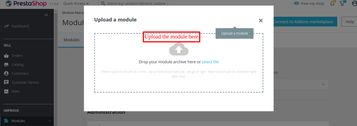 drop or select the file of Prestashop Order Carrier Change module from the system