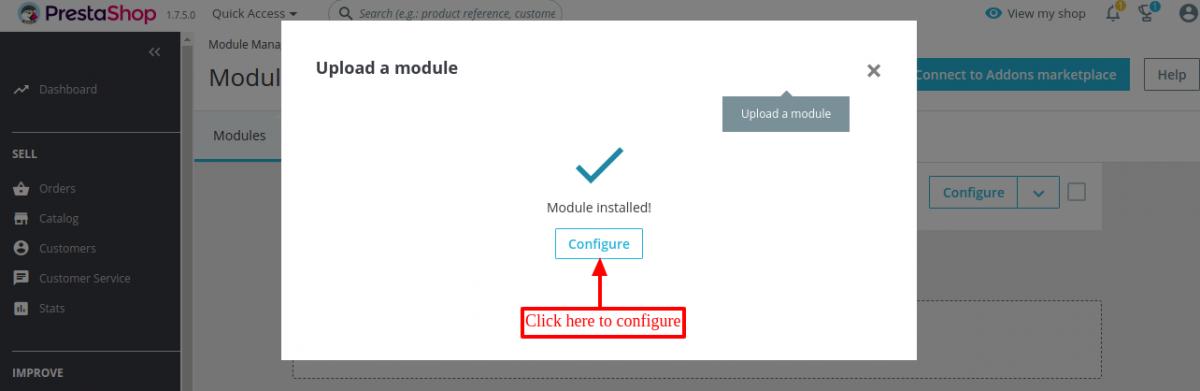 Prestashop Order Carrier Change module installed