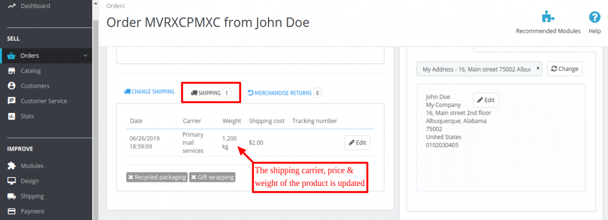shipping carrier & price updated