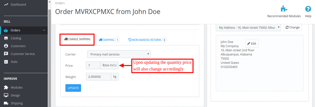 price updated in change carrier section