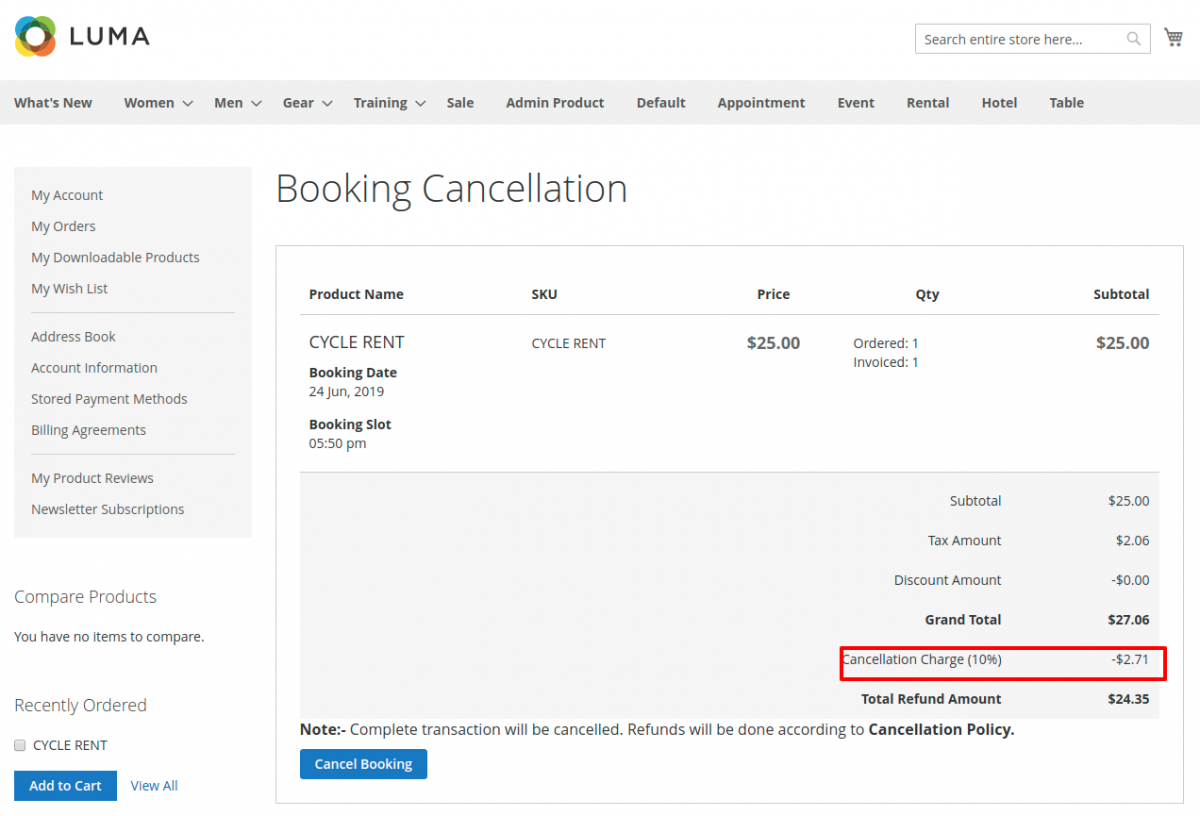 Magento 2 Rental Extension_Booking-Cancellation-cahrges-1