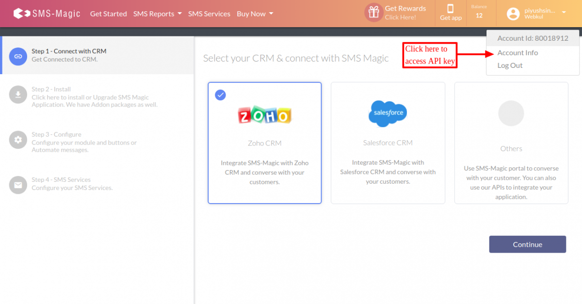 Onehop access API key