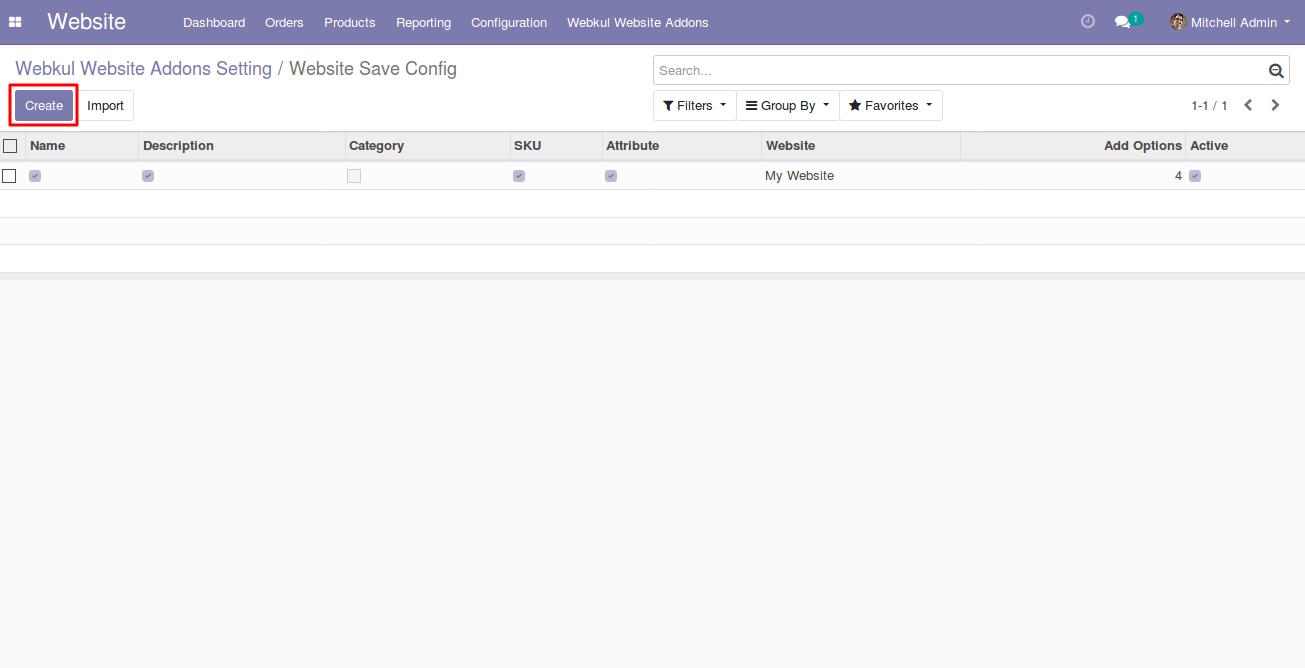choosing filters for Odoo website