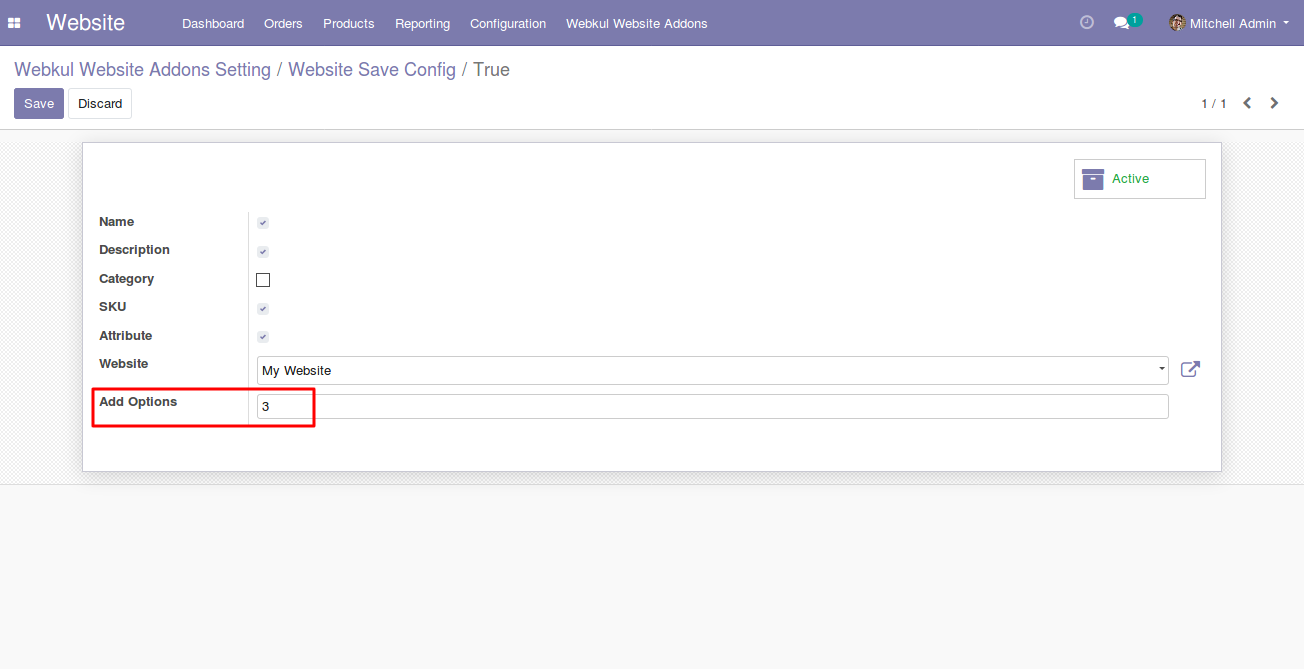 configuring product filters for Odoo website
