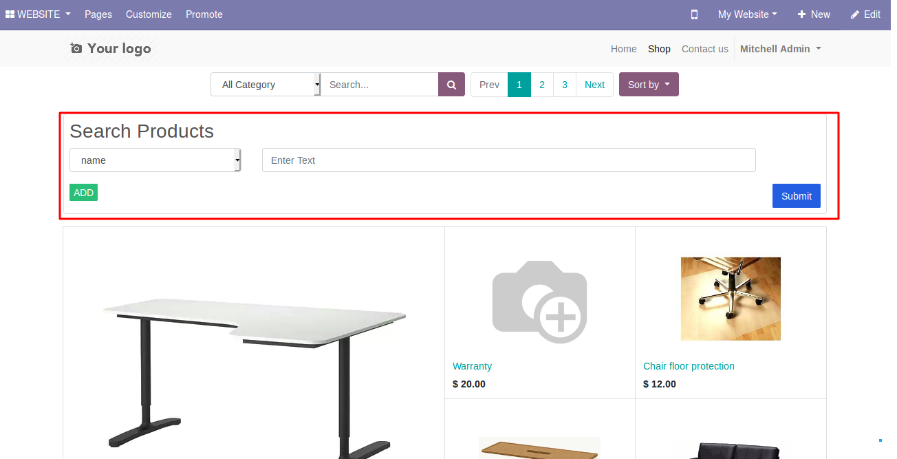 Products filters on Odoo website 1