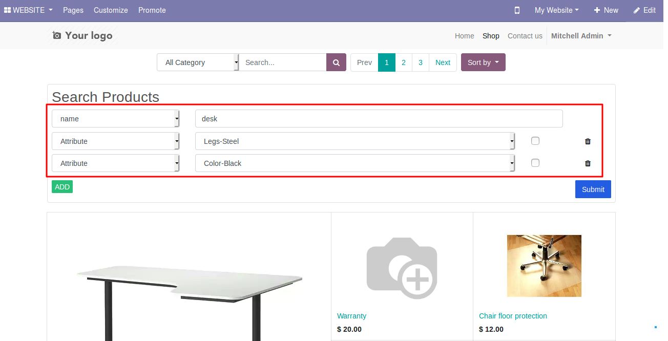 Products filters on Odoo website 2