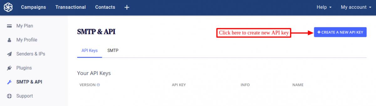 SendinBlue create new API key