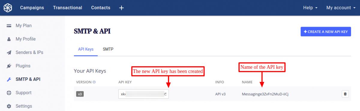 SendinBlue API key created