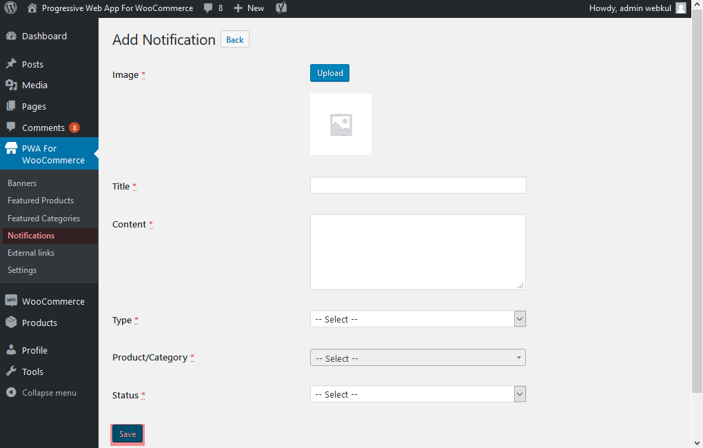 progressive web app for woocommerce add_notification_webkul_pwa_woocommerce