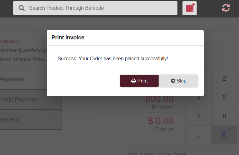 bagisto-laravel-eCommerce-point-of-sale-print-confirmation