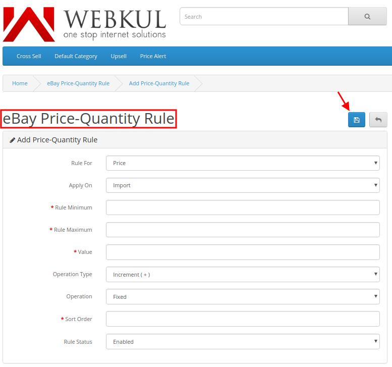 eBay Price Quantity Rule add