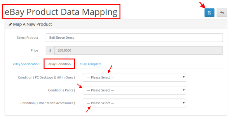 eBay data map product condition