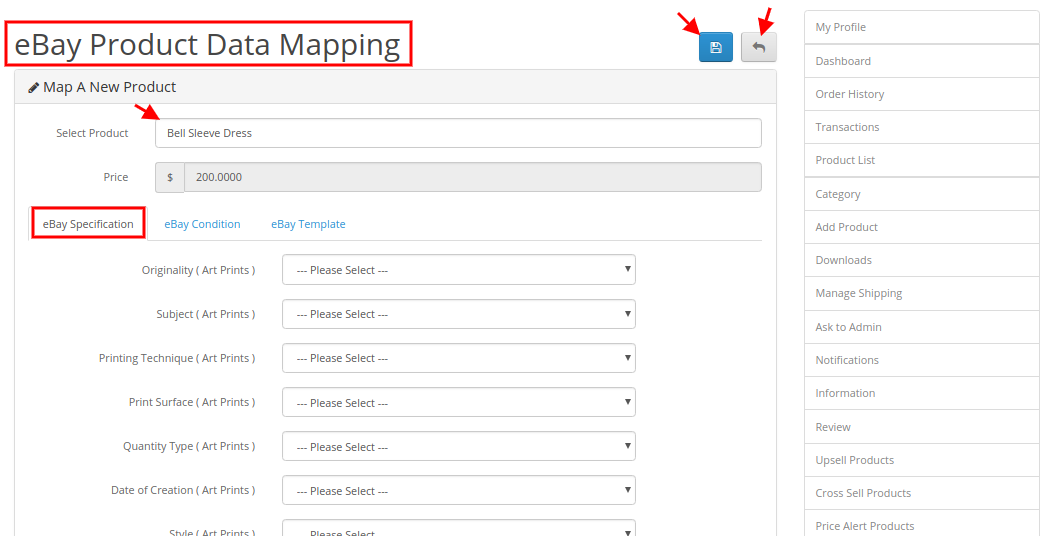 eBay product data mapping add specification
