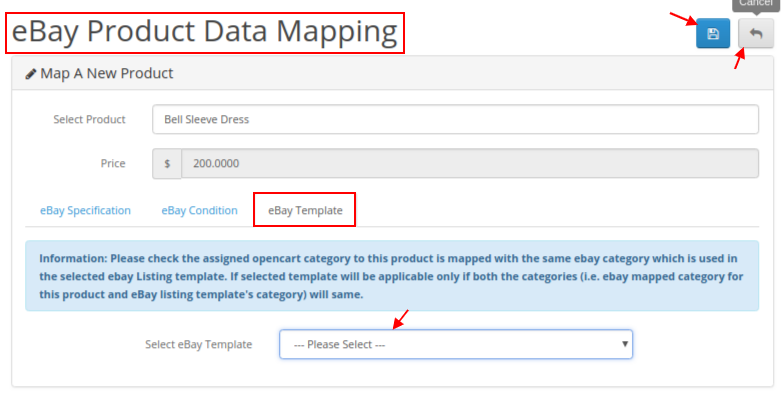 eBay product data mapping template