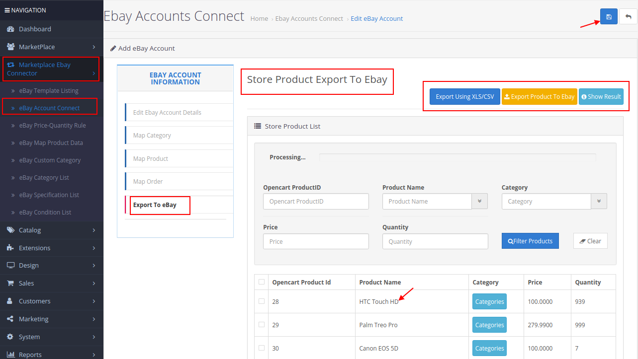 export product to ebay