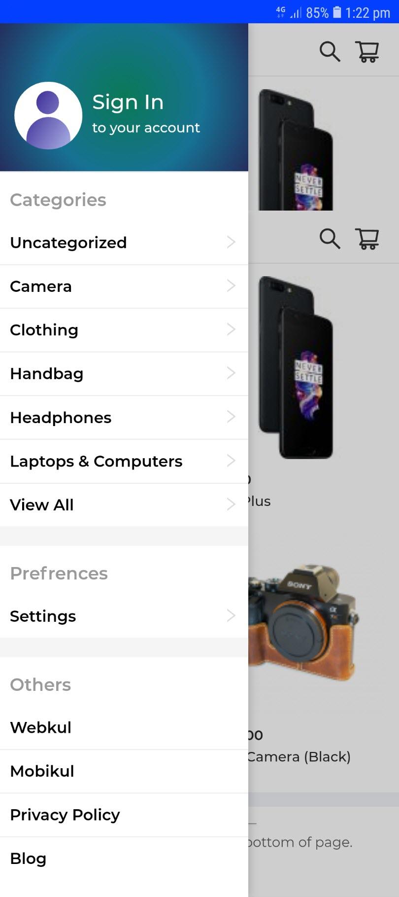 progressive web app for woocommerce side_panel_drawer