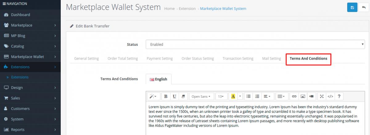 OpenCart Multi-Vendor Wallet System