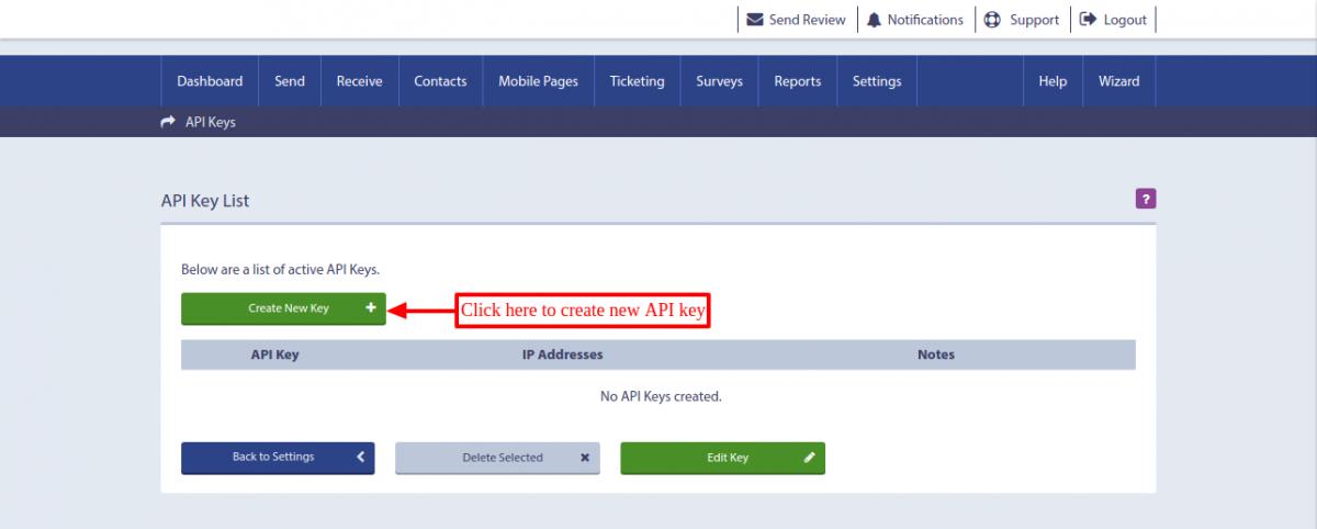 text local create new API key