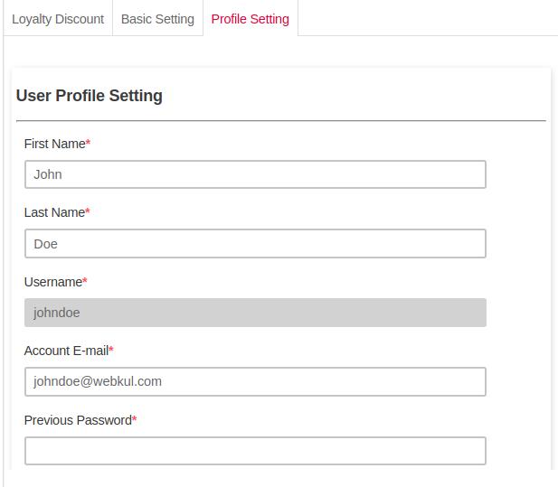 pos user profile setting