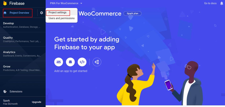 WooCommerce PWA Webkul Add Firebase to your App