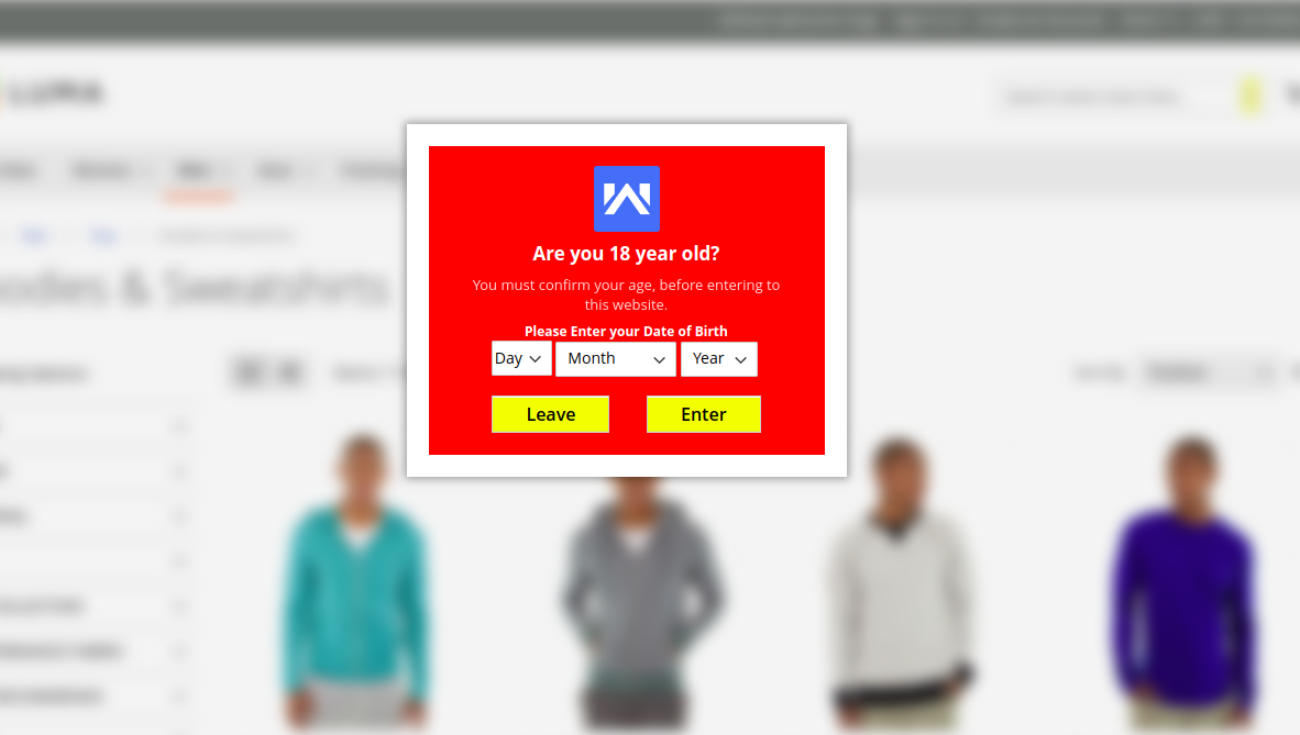 age verification on category page