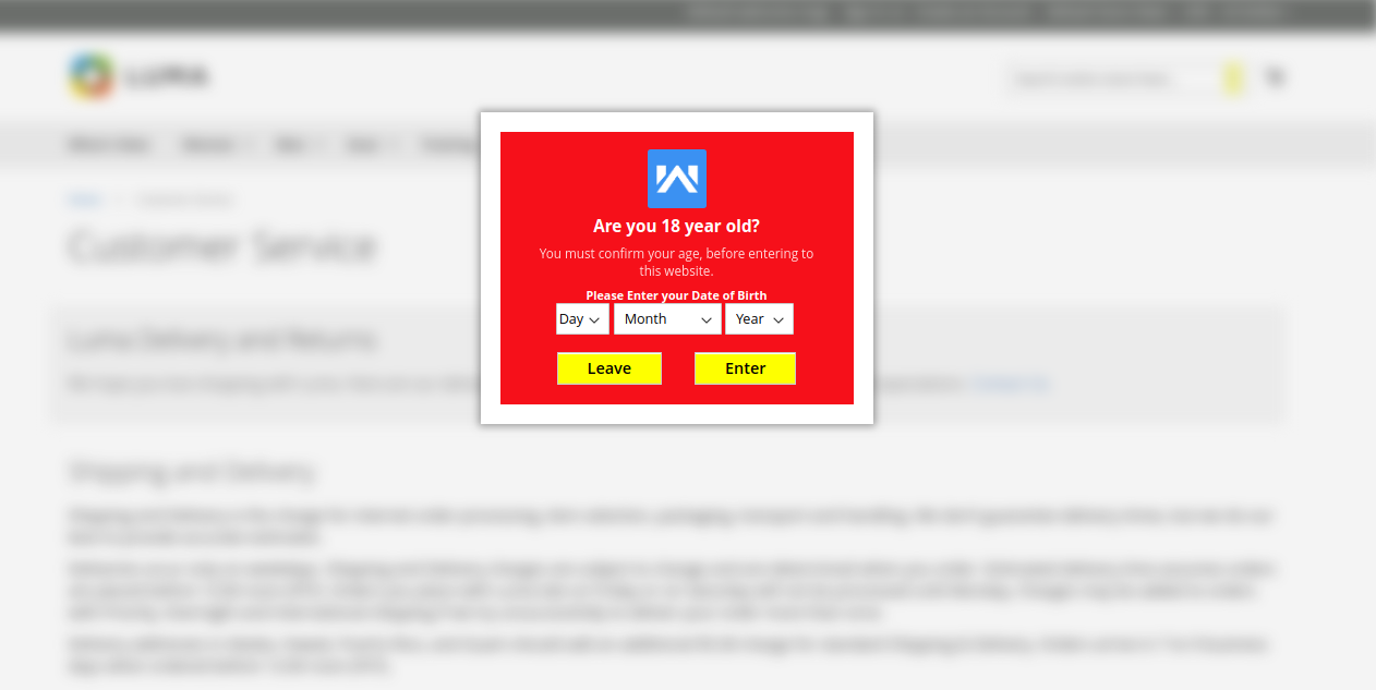 age verification on the cms page