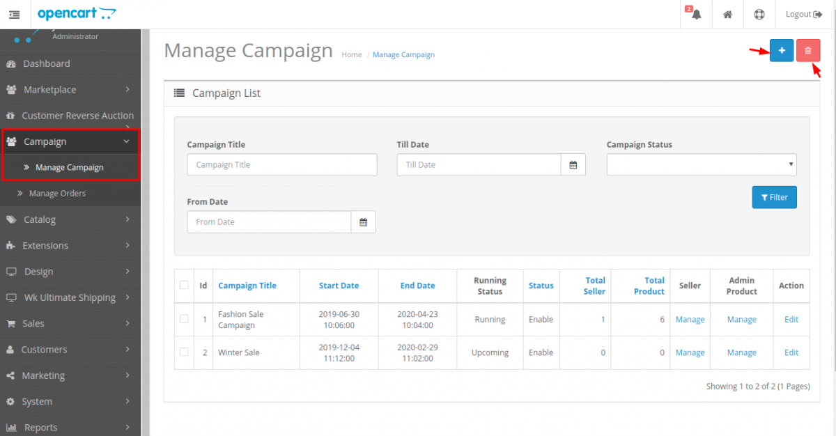 webkul-opencart-marketplace-campaign-manage-campaign