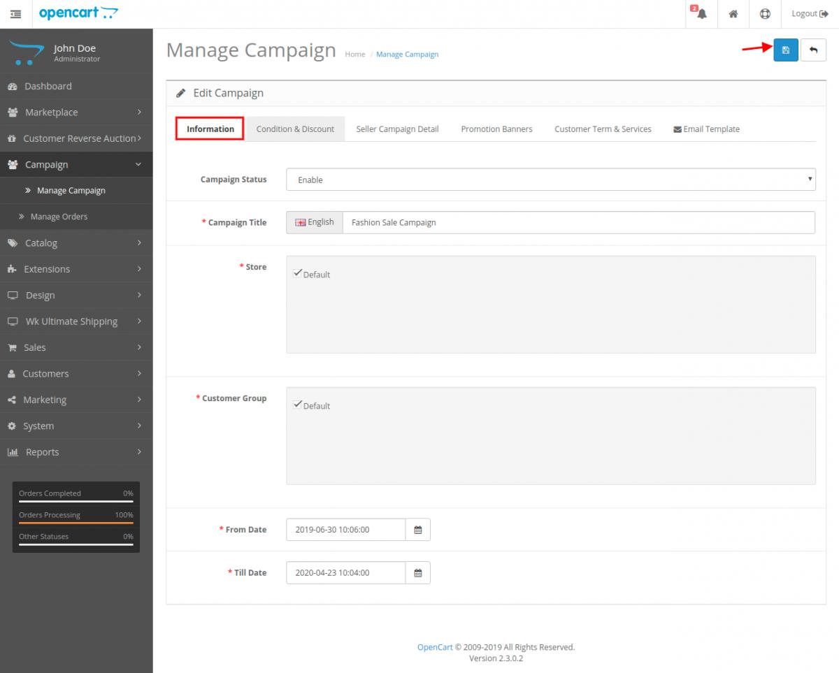 webkul-opencart-marketplace-campaign-manage-information