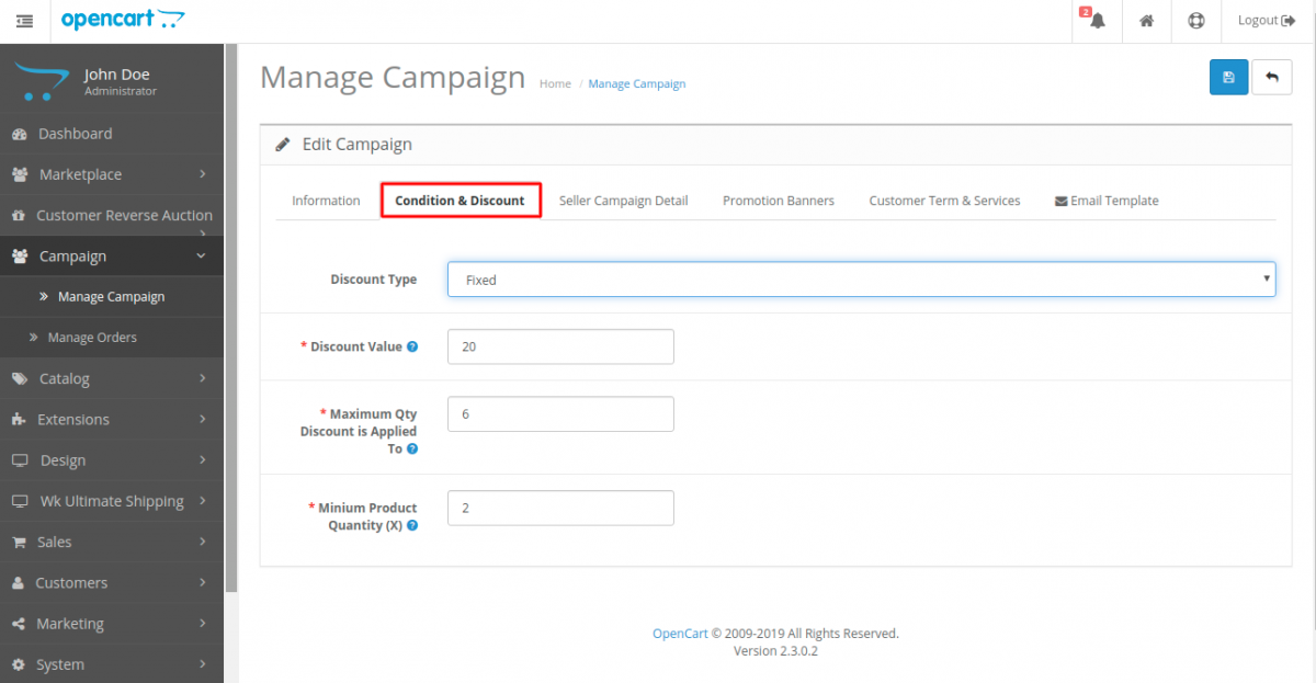 webkul-opencart-marketplace-campaign-condition-and-discount