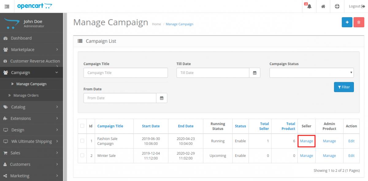 webkul-opencart-marketplace-campaign-manage-seller