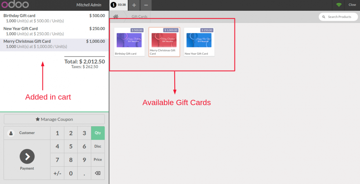 Gift Cards in POS Cart