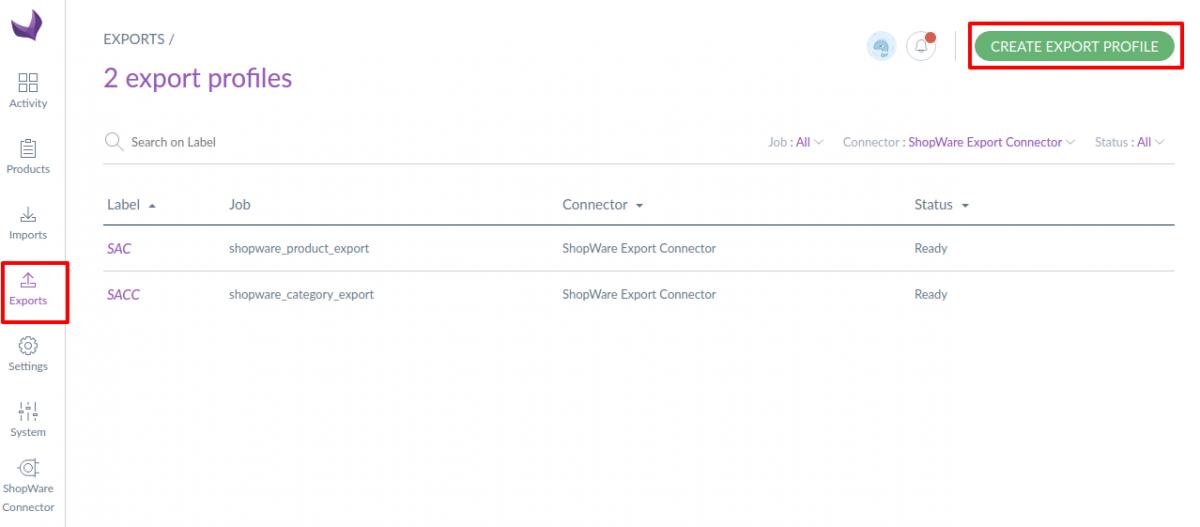 shopware-akeneo-connector-create-product-export-profile