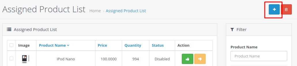 Opencart_Marketplace_Admin_Price_Comparison_assigned_product_list_add