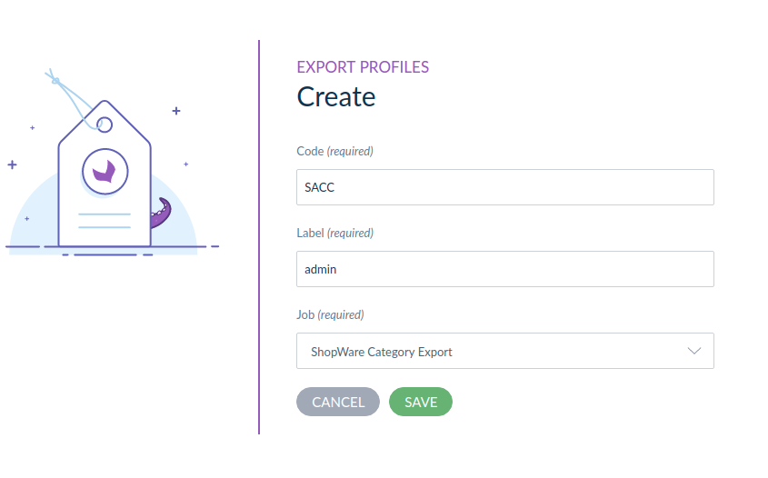 shopware akeneo connector export profile