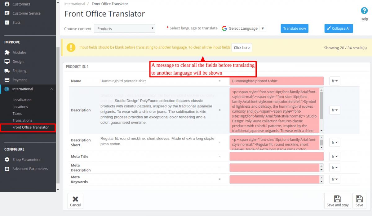 Configuration settings of Prestashop Front Office Translator