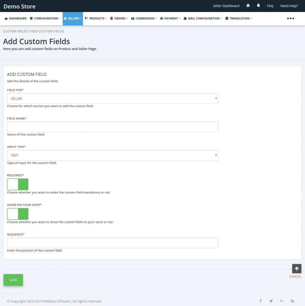 fill the custom field details