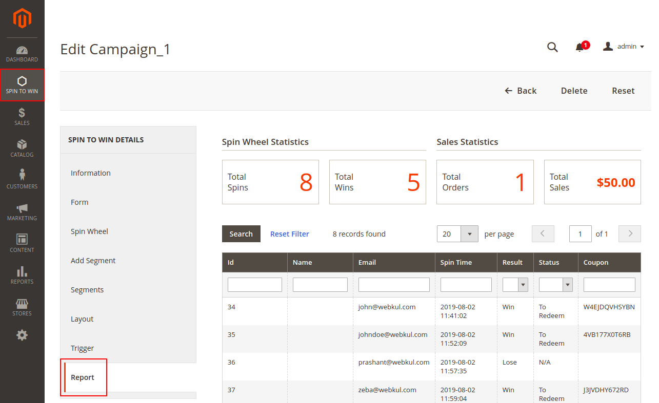 webkul-magento2-spin-to-win-report
