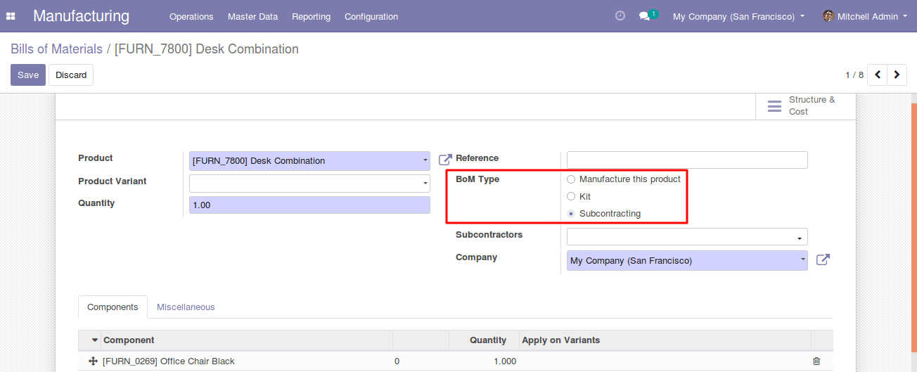 Odoo 13 new feature - MRP Subcontracting 2