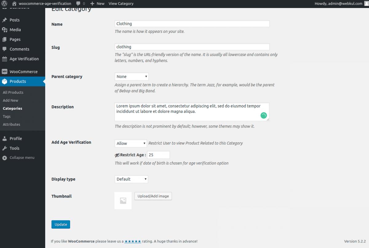 Age verification system woocommerce category-age-verification
